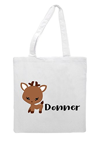 Tote Shopper White Bag Character Reindeer Christmas Festive Names Donner XWqw01