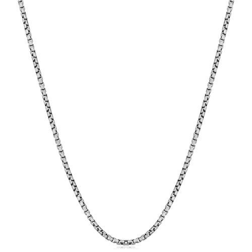 Sterling Silver 1mm Round Box Chain (22 inch) Round Box Chain