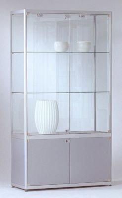 INSIDE Staufachvitrine - rechteckig, 2 Böden, Unterschrank HxBxT 1820 x 800 x 400 mm - Glasvitrine Präsentationsregal Präsentationsregale Sortimentskasten Vitrine Vitrinenschrank Vitrinenschränke