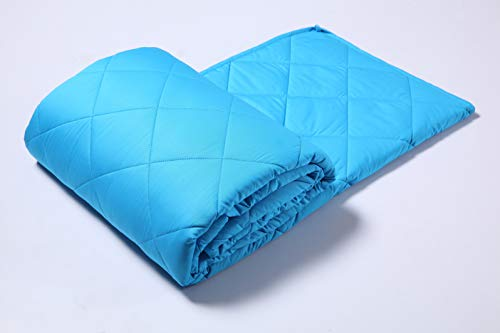 Finslep 3.0 Silk Feel Sky Blue Weighted Blanket | Allover Quilted | Student Blanket | Breathable Materials | Spotless Glass Beads | Good Solution for A Better Sleeping | Travelling (48 x 72 12 lbs)