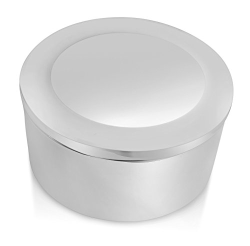 Luxury Engraved Gifts UK Men's Custom / Personalised Silver Plated Round Shaped Trinket Box -