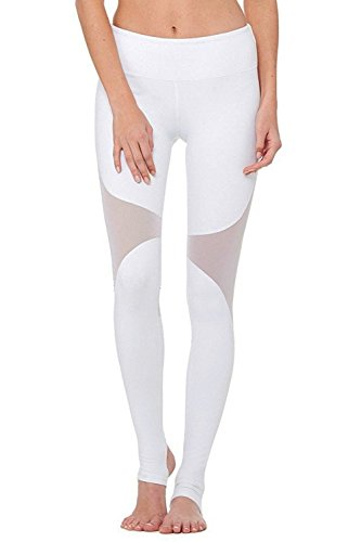 Stretch Stirrup Tights (DeepTwist Women's Yoga Pants Stirrup Mesh Workout Leggings Active Gym Stretch Running Tights White, DT4007-White-6)