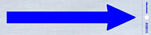 Hillman 839810 Arrow Symbol Self Adhesive Sign, Nickel and Blue Mylar, 2x8 Inches 1-Sign