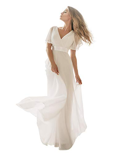 Ever-Pretty Womens Short Sleeve V-Neck Long Evening Dress 4 US White
