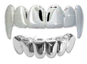 Hip Hop Vampire Fangs Teeth Mouth Grillz Set (Silver Platinum)