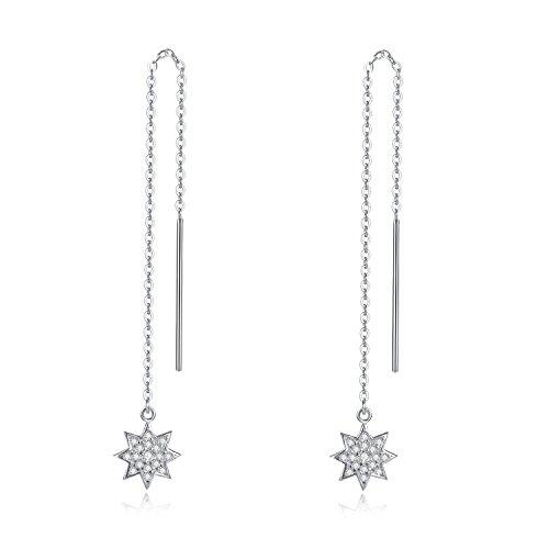 Earrings Stars Cubic Zirconia 925 Sterling Silver Earrings for Women by Sterling Silver Chain Sterling Silver Jewelry