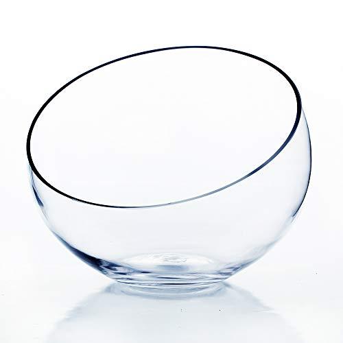 WGV Clear Slant Cut Bowl Glass Vase/Glass Terrarium, 8-Inch x 2.7-Inch