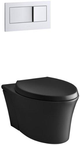 KOHLER K-6299-7 Veil Wall-Hung Elongated Toilet Bowl, Black Black