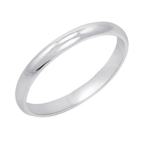Women's 14K White Gold 2mm Classic Fit Plain Wedding Band (Available Ring Sizes 4-8 1/2) Size 7 - 14k Gold Classic Wedding Band