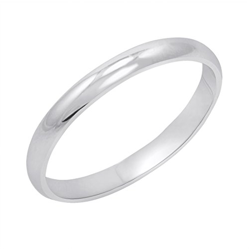 Women's 10K White Gold 2mm Classic Fit Plain Wedding Band (Available Ring Sizes 4-8 1/2) Size 7 by Amanda Rose Collection
