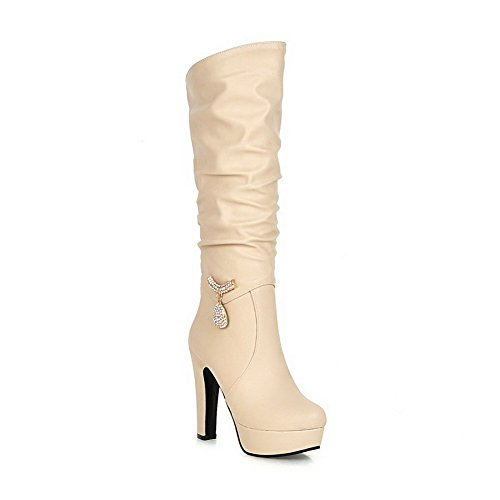 charms Toe Women's Materials Solid Boots Allhqfashion Apricot Blend Closed q81Hf