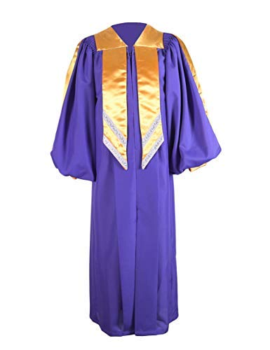 GraduationService Unisex Deluxe Premium Crescendo Choir Robe Cuff Sleeves with Gold Hanging Stole
