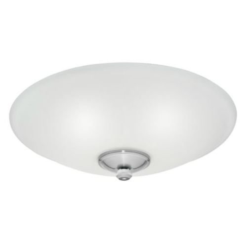 Low Profile Bowl Light Fixture- White Cased Glass, Damp-Rated