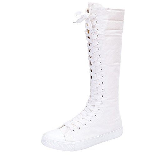 Womens Canvas Boots (Women's Knee High Lace-up Canvas Zip Dance Cheerleading Shoes Boots (9 B(M) US, 905White))