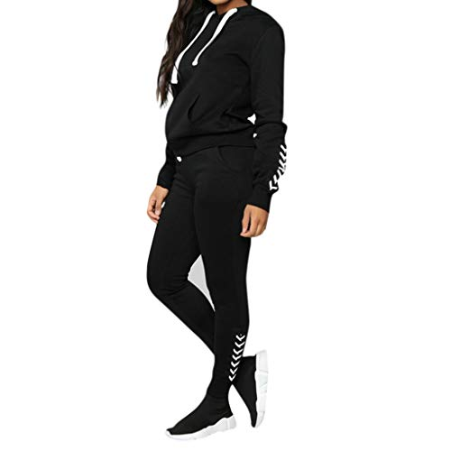 Women Tracksuit Sets 2 Piece Outfits Stripe Hoodie Sweatshirt and Jogging Sweatpants Suit Pullover Tops Long Pants Set (XL, Black)