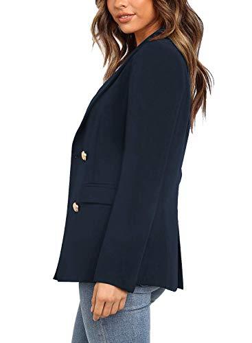 Vetinee Women's Lapel Pocket Blazer Suit Long Sleeve Buttons Work Office Jacket