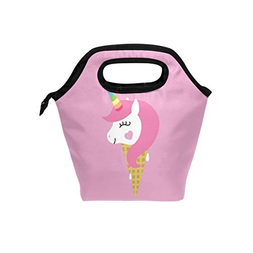 Bettken Lunch Bag Pink Unicorn Ice Cream Insulated Reusable Lunch Box Portable Lunch Tote Bag Meal Bag Ice Pack for Kids Boys Girls Adult Men Women -