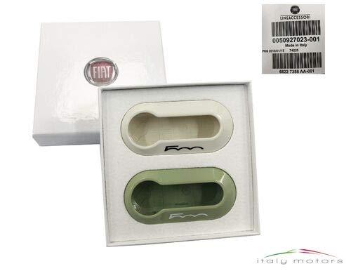 2/x Genuine New Fiat 500/fundas para llaves en luz verde y blanco con 500/Logo