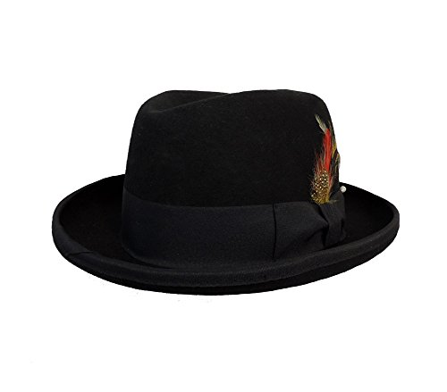 Deluxe Felt Gangster Hat - Men's Deluxe Wool Godfather Fedora w/ Real Feather Accents