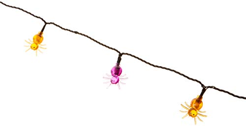Product Works UltraLED Battery Operated Spider Cap Twinkle Light String, Purple and Orange, 8-Feet