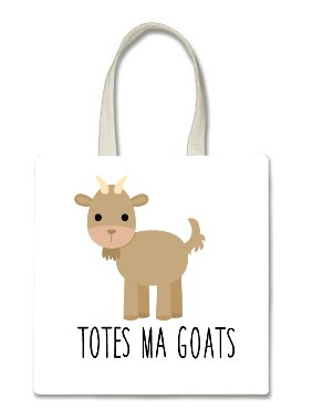 Totes Ma Goats Goat Halloween Trick Or Treat Polyester White Tote Bag 15x16x -