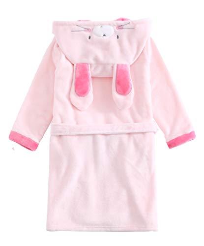 Children Unisex Bunny Bear Cosplay Costumes Pyjamas Girls Pink Bunny Bathrobe Robes Hooded Rabbit Flannel Sleepwear Dressing Gown Soft Warm Nightgown Robe 3Y 4Y