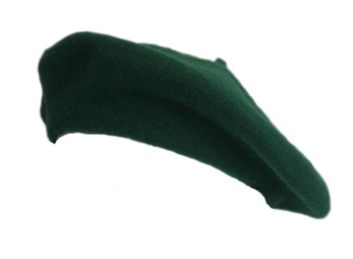 100% Wool Kelly Green Beret French Parisian Hat