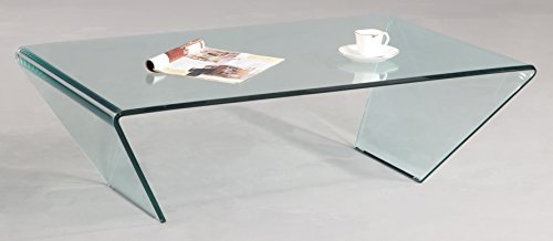 Chintaly Imports Bent Glass Rectangle Cocktail Table, Clear For Sale