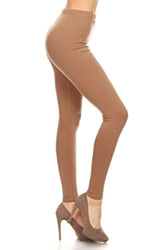 NCL32-Mocha-XS Cotton Spandex Solid Leggings, X-Small