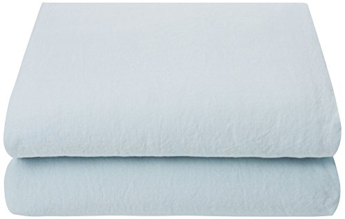 LinenMe 0490903 Stone Washed Bed Linen Flat Sheet, Ice Blue 31gnK0dna1L