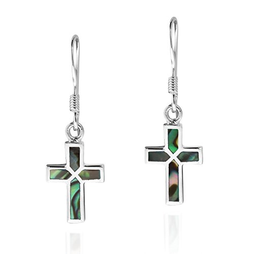 Mini Cross Inlaid Abalone Shell .925 Sterling Silver Dangle Earrings