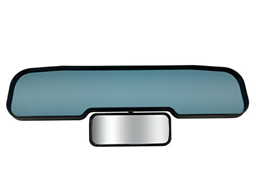 New -Blue Guardian Child Car Mirror | Anti-Glare Blue Tint Flat Rear View Mirror PLUS a Panoramic Child/Toddler Mirror | Clip-On Universal Fit | Mimics Auto-Dimming - Mirror Blue Tint