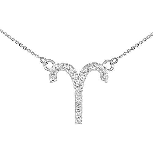 Collier Femme Pendentif 14 ct Or Blanc Bélier Signe Du Zodiaque Diamant (Livré avec une 45cm Chaîne)