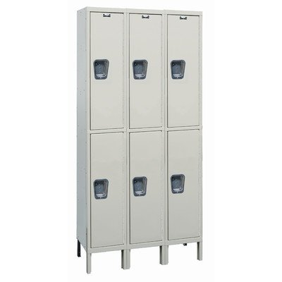 Hallowell UY3288-2A-PT Maintenance Free Quiet KD Metal Locker, Assembled, 3-Wide Grouping, 2 Tier, 36