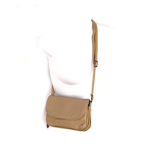 Pequeño rápido suave cuero auténtico de la aleta del hombro del bolso de Silver Fever® Beige