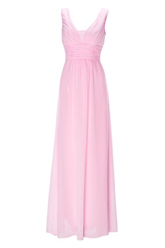 Pink Length Full Women's Plunging Cosya Dress Pleated Evening Candy xW8Iq7q