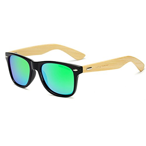 Long Keeper - LongKeeper Polarized Bamboo Wood Arms Sunglasses for Women Men With Box (Black, Green)