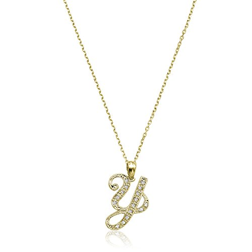 Jewels By Erika Script Y-Y 14K Gold and Diamond Initial Pendant - Yellow Gold