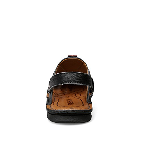 Sandali di estate nuovi modelli Uomini Cowhide Sole molle Due scarpe da spiaggia, Nero, UK = 9, EU = 43 1/3