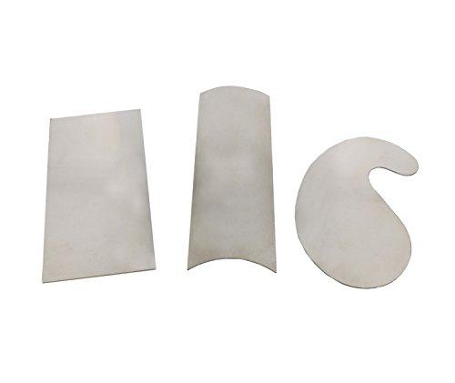 DCT Carbon Steel Scraper 3-Piece Set – Rectangular, Concave Convex, Gooseneck Curved Wood Cabinet Woodworking Scrapers (Rectangular Curved)
