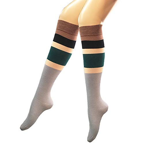 Girls Women Vintage Contrast Color Striped Knee High Socks Warm Cotton Over Calve Fun Party Custume Cosplay Tube -