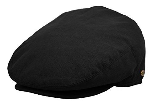 (Plain Cotton Ivy Summer Newsboy Cap Driving Cabbie Flat Cap Snap Brim (Large, Black))