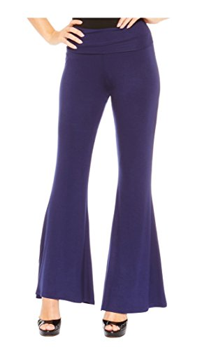 Red Hanger Women's High Waist Palazzo Bell Bottom Pants Regular and Plus Sizes, Navy-1X -