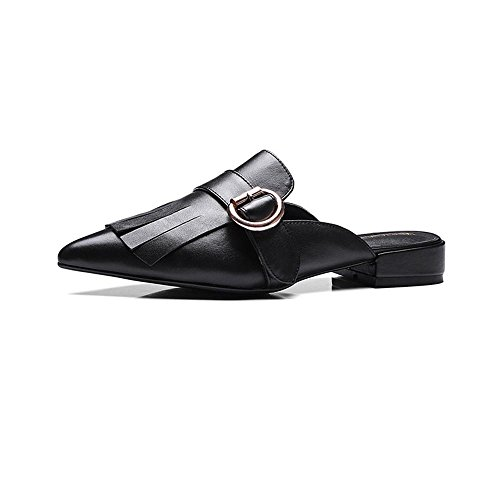Heart&M De punta estrecha punta cerrada tacón grueso tacón bajo de cuero genuino sandalias de los deslizadores los zapatos de cuero ocasionales de las mujeres Black