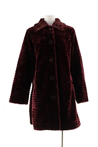 Dennis Basso Button Front Grooved Faux Mink Coat Pocket Merlot S New A239817 from Dennis Basso