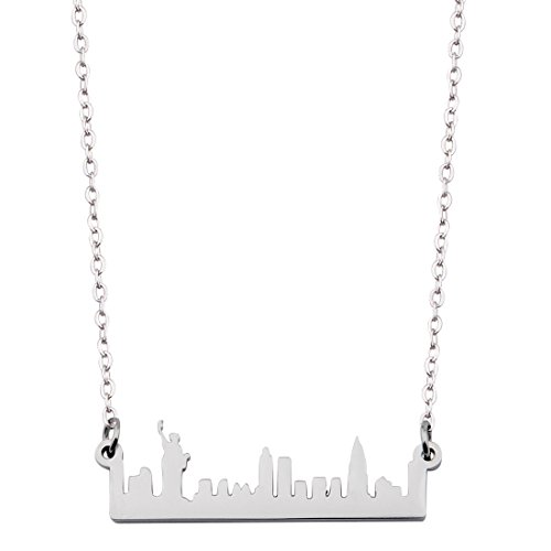 New York City Skyline Necklace Dainty Architectural Jewelry Anniversary Gift (Silver New York)