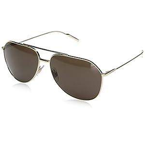 Dolce & Gabbana Men's Metal Man Aviator Sunglasses, Pale Gold, 61 mm