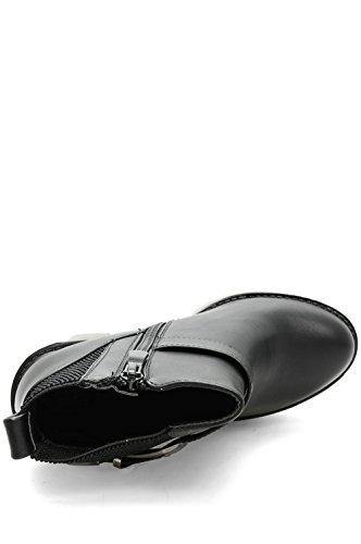 Alx Trend Chaussures femme Bottines en cuir faux avec boucle Lorena - Noir