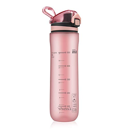 Letsfit Sports Water Bottle, BPA-Free Tritan Plastic Water Bottle with Locking Flip-Flop Lid, Leakpoof and Dustproof Cap, Carry Loop, 21oz Bottle for Outdoor Hiking Camping Travel (Frosted Pink)