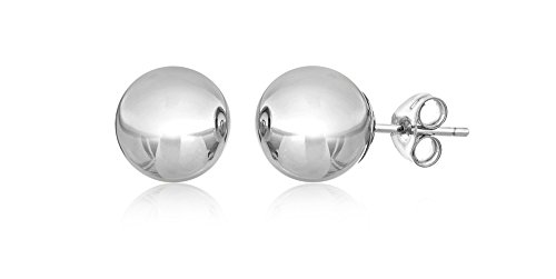 14KT White Gold Ball Stud Earrings With Butterfly Pushbacks (7MM) ()